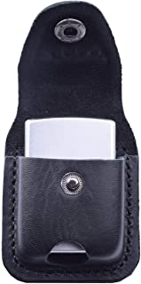 Handmade Fliptop Leather Lighter Pouch Holder Case with Pocket Belt Loop (Black)