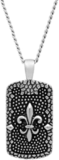 Men's Stainless Steel Fleur De Lis Baroque Textured Dog Tag Pendant with Curb Chain Necklace, 24-inches