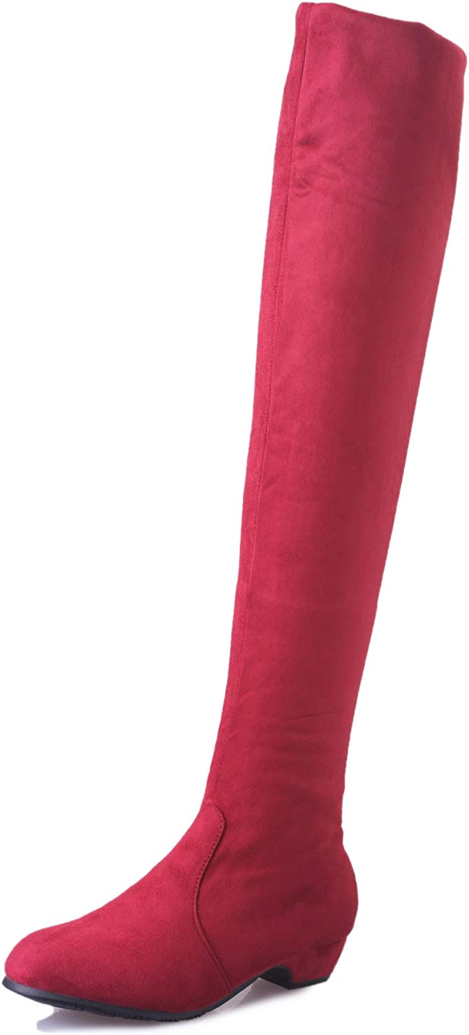 Women Knee High Boots Large Size Faux Suede Elastic Flat shoes (color   Red, Size   CA 9)