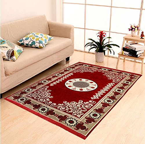 DAILZ Ethnic Velvet Touch Abstract Chenille Carpet - 55'x80', Maroon