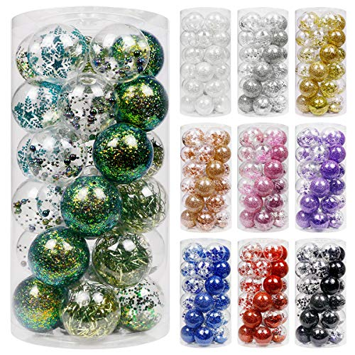 Super Holiday 30ct Christmas Ball Ornament, 2.76' Handmade Shatterproof Transparent Luster Christmas Ornament with Delicate Filling Decoration, Used in Home, Shop, Hotel and Office(Peacock Green)