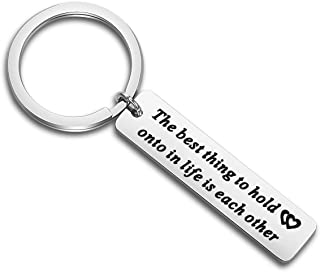 MYOSPARK Audrey Hepburn Quote The Best Thing to Hold onto in Life is Each Other Keychain Gift for Couples Family Best Friends