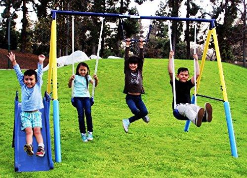 Heavy Duty Metal Childrens Swing Sets Power Play Time Girls Boys Kids Outdoor Play Backyard Fun Time - Skroutz