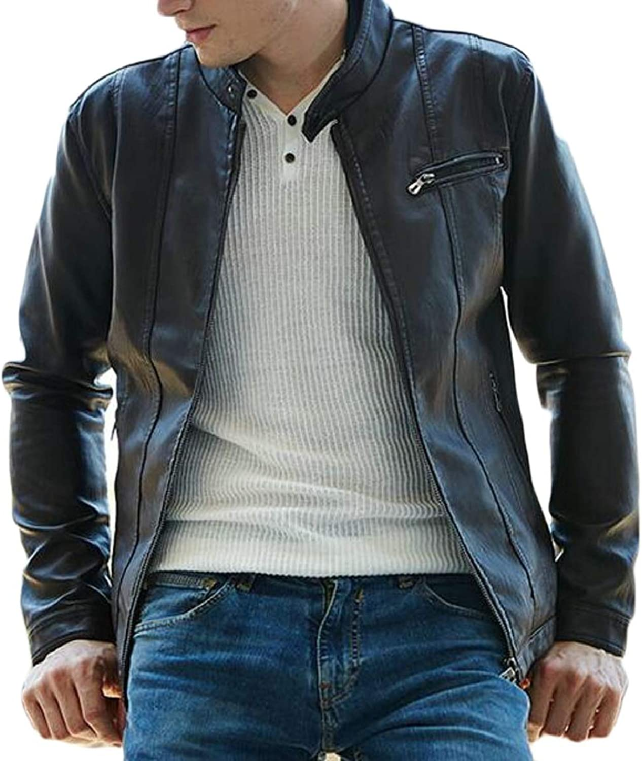 72e0aa24168 Smeiling-CA Smeiling-CA Smeiling-CA Men Classic Faux Leather Jacket  Motocycle Lightweight Jacket 2b9864