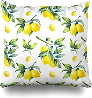 Ahawoso Decorative Throw Pillow Cover Green Watercolor Leaf Lemon Pattern On Food Hanging Drink Fruit Branch Tree Agriculture Botanical Zippered Design 16