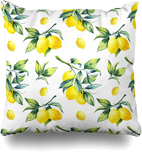 Ahawoso Decorative Throw Pillow Cover Green Watercolor Leaf Lemon Pattern On Food Hanging Drink Fruit Branch Tree Agriculture Botanical Zippered Design 18 X18 Square Home Decor Cushion Pillowcase
