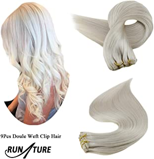 RUNATURE Natural Straight Clip in Human Hair Extensions Real Brazilian Remy Hair 7A Grade Quality Natural Hair Weave 20