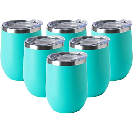 HASLE OUTFITTERS 12oz Wine Tumbler with Lid Stemless Wine Glasses Double Wall Vacuum Travel Mugs Stainless Steel Coffee Cup for Cold /& Hot Drinks Wine Coffee Cocktails Beer 1 Pack Grey