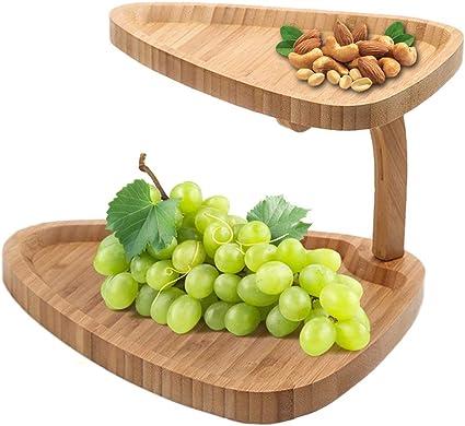 JasCherry -Bandejas para tartas de Bambú de 2 Niveles, Creativo Plato Doble para Frutas Plato para Dulces té de la Tarde Vajilla Soporte para Tartas, ...