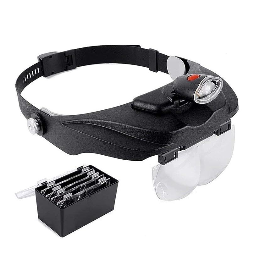 矢パススピーチ光源付きヘッドマウント虫眼鏡は高齢者の読書新聞製品修理ジュエリーアンティーク翡翠の識別4交換レンズのために使用することができます:1.2X 1.8X 2.5X 3.5X