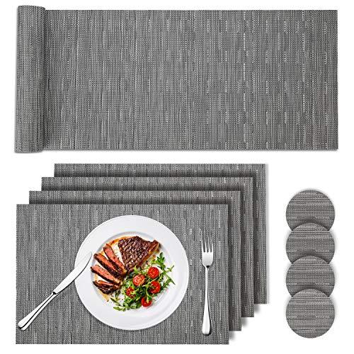 Tencoz Tovagliette, PVC Tovagliette Set di 4 e Runner 135cm e Coasters 4 da Tavola Grigio Lavabile Resistente al Calore Tovagliette per La Cucina