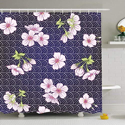 N / A Ahawoso Duschvorhang Set mit Haken Muster Multicolor Stock Sun Asia Textile Japanische Blüte Vanille Tourismus Sakura Natur Texturen Wasserdichtes Polyestergewebe Bad Dekor für Badezimmer