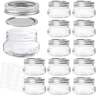 KAMOTA Mason Jars 4 oz With Regular Lids and Bands, Ideal for Jam, Honey, Wedding Favors, Shower Favors, Baby Foods, DIY Magnetic Spice Jars, 12 PACK, 20 Whiteboard Labels Included