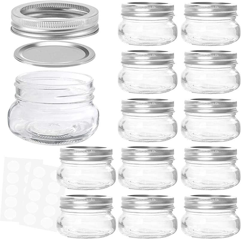 KAMOTA Mason Jars 4OZ With Regular Lids And Bands Ideal For Jam Honey Wedding Favors Shower Favors Baby Foods DIY Magnetic Spice Jars 12 PACK 20 Whiteboard Labels Included