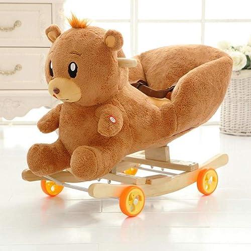 Y-yaoyi Plüsch Schaukelpferd Spielzeug - Multiple Tierauswahl, H ernes Schaukelpferd Für Kinder 1 2 3 Jahre, Geschenk Für Kinder,B