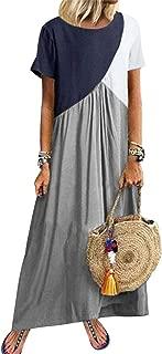 Rela Bota Maxi Dress for Women Plus Size - Casual Short Sleeve Scoop Neck Contrast Color Loose Beach Maxi Long Dress