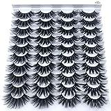 HBZGTLAD 20 pairs 3D Mink Lashes Natural False Eyelashes Dramatic Volume Fake Lashes Makeup Eyelash Extension Silk Eyelashes(F063)