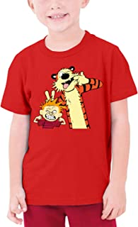 OWL QUEEN Calvin and Hobbes Kid's Funny Crew Neck T-Shirts Black Boys Girls Casual Top Tee