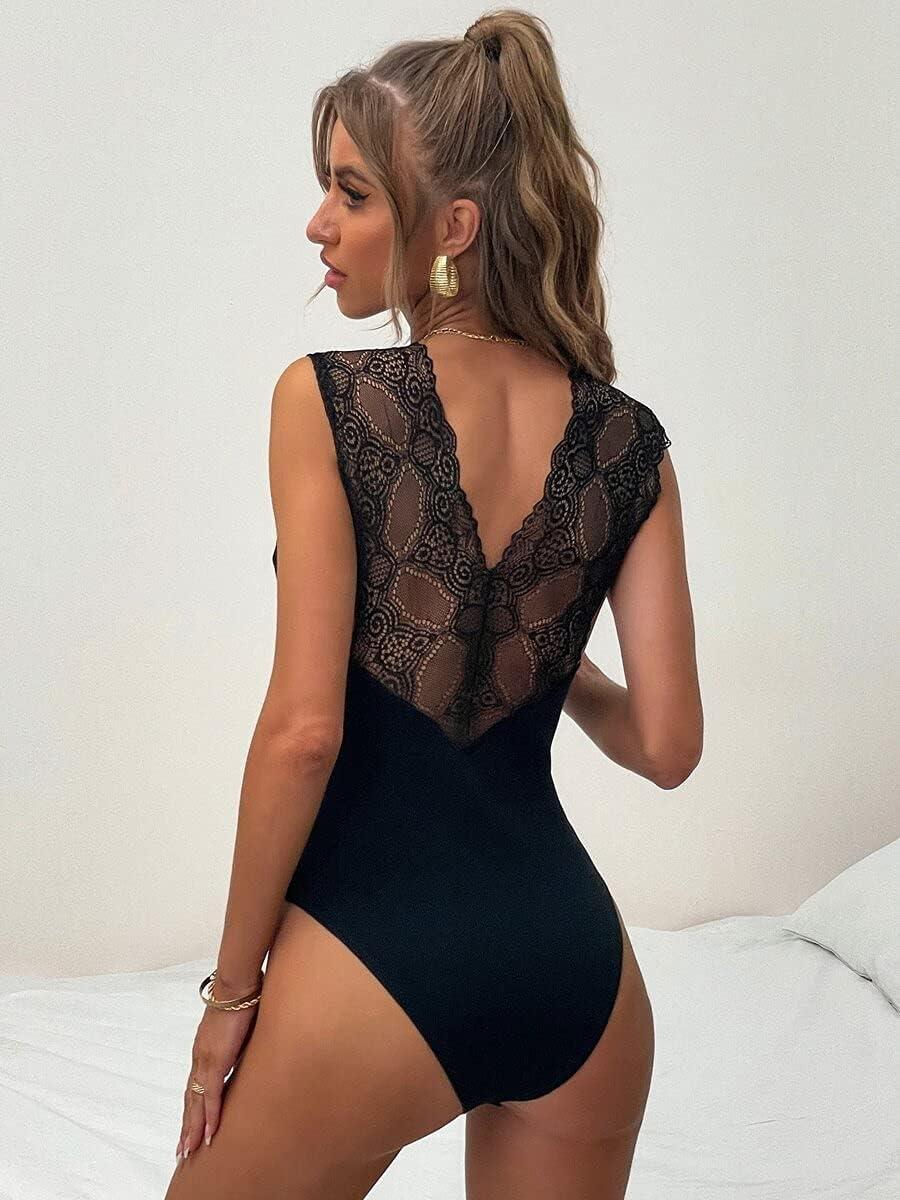 JYMBK Lace Jumpsuit Contrast Lace Plunging Neck Bodysuit (Color : Black, Size : L)