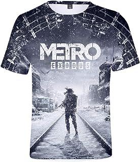 Aoxinquji Metro Exodus Unisex Stylish 3D Printed Graphic Short Sleeve T-Shirts for Men Teen