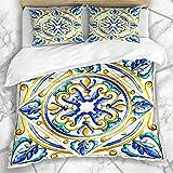 Bettbezug-Sets Blau Abstrakt Italienische Majolika Fliesen Blumen Vintage Grün Schwarz Farbe Blumenglas Grafik Muster Mikrofaser Bettwäsche mit 2 Kissen Shams Pflegeleicht Antiallergisch Weich