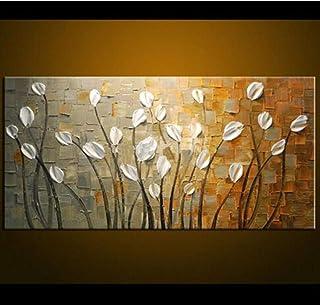 ZXMPGYH Pintura Gran Mano Pintada Cuchillo árboles Pintura al óleo sobre Lienzo Paleta de Oro Amarillo Pinturas Modernas imágenes abstractas