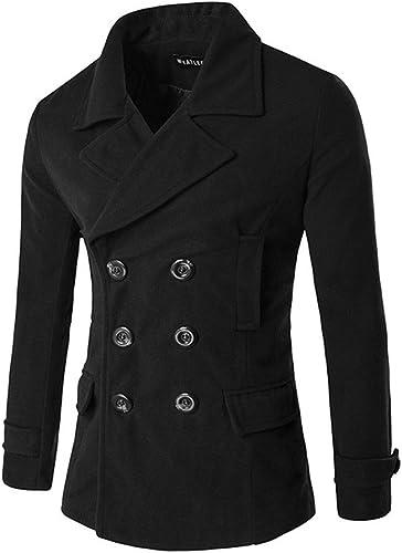 Fvbuhhi Le Manteau de Laine de Revers croisé Manteau de Laine Couleur de l'hiver, Les Hommes NonIron marée Casquette,noir,l