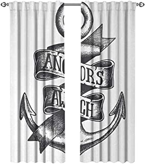 Anchor, Curtains Pattern, Tattoo Style Navy Symbol Sketch with Ribbon and Vintage Lettering Insignia, Curtains for Doors with Windows, W84 x L96 Inch, Charcoal Grey White