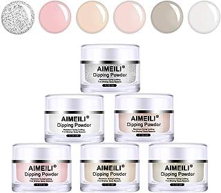 AIMEILI Nail Dipping Powder Nail Art Powder 6 Colors Acrylic Powder Set French Manicure