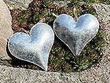 2 Zink Herzen mit Band 10 cm klein zum Hängen Garten Dekoration Geschenkanhänger