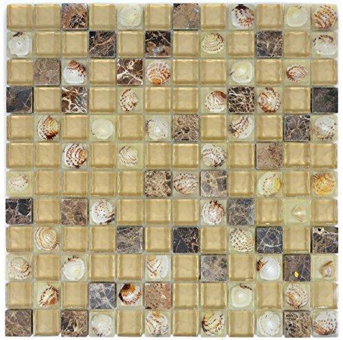 Mozaïek tegel doorschijnend beige bruin glamozaïek kristallen stenen schelp beige bruin voor muur badkamer toilet douche keuken tegelspiegel THEKENVERKOIDING badkuipverkleeding mozaïekmat mozaïekplaat
