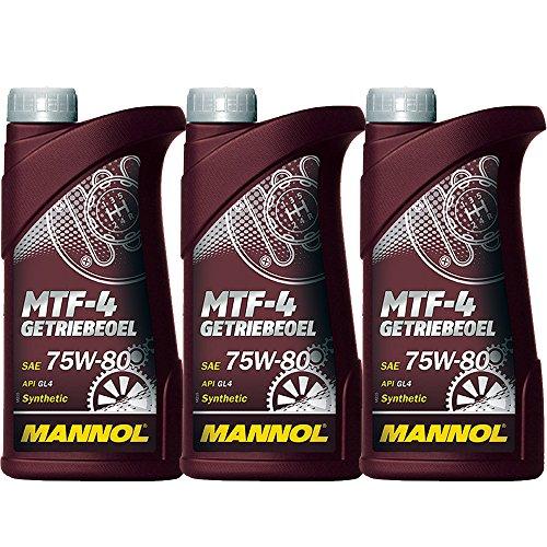 MANNOL 3 x 1L 75W-80 MTF Getriebeöl/GL-4 Schaltgetriebeöl MTF LT-1/-2/-3/-4