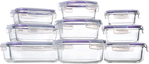 Bayco Glass Storage Containers with Lids, 9 Sets Glass Meal Prep Containers Airtight, Glass Food Storage Containers, Glass...