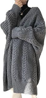 MaxWant ニット カーディガン ニットカーディガン レディース ケーブル編み 厚手 ロング ゆったり Vネック