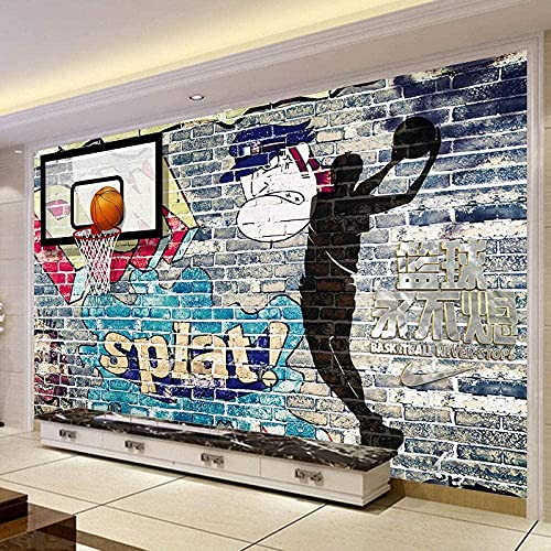 XiuTaiLtd Fondo de tv pared baloncesto nba tema sala de estar sofá tv papel tapiz de fondo mural papel tapiz minimalista moderno papel tapiz mural 3D-350x256 CM