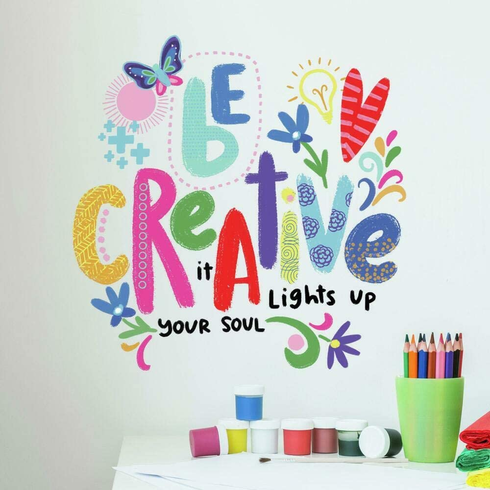 RoomMates RMK4668SCS Be Creative Inspirational Quote Peel and Stick Wall Decals