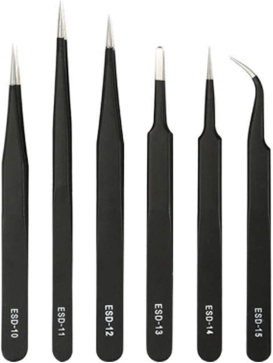 SUQ Kit de Pinza ESD Antiestática 6 Piezas, Pinzas precisión ESD anti-estática, Acero Inoxidable, no Magnéticas Pinzas Fijadas para Artesanía, Joyería, Electrónica, Trabajo de Laboratorio