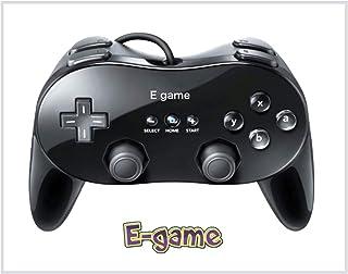 【E-game】 Wii クラシックコントローラ PRO (Wii WiiU バーチャルコンソール対応)クロス & 日本語説明書 & 1年保証付き「ブラック」