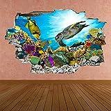 Pegatinas de arte de pared bajo el agua, calcomanía mural, peces de mar, acuario, dormitorio para niños BZ45 Póster Arte 3D Mural 50x70cm