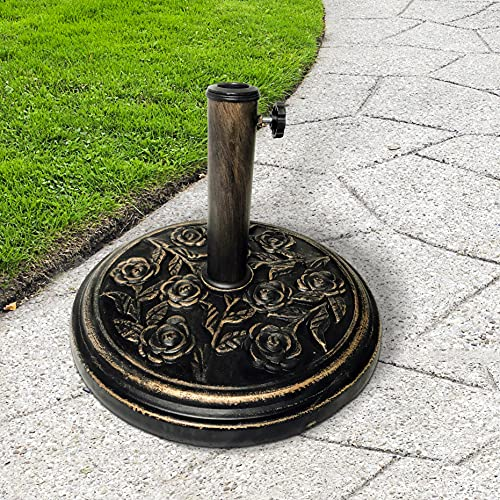 KEPLIN 9kg Cast Iron Effect Parasol Base with Floral Pattern – Heavy Duty Metal Garden Patio Furniture Stand for Umbrella, Canopy, Gazebo, Awning etc. – Diameter 45mm
