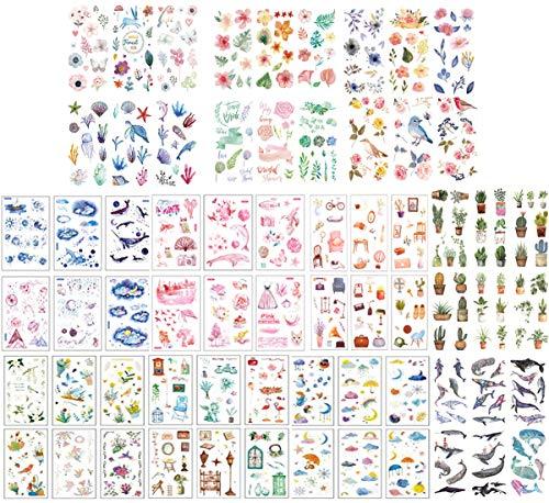 jenich 72 Blatt Scrapbooking Aufkleber Sticker Blätter Blumen Tiere Stickerbögen Aufkleber Sticker für Scrapbooking Fotoalbum Kalender Bullet Journal Tagebuch Notizbuch DIY Deko