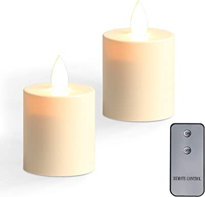 Battery Operated Flameless LED Pillar Candle with Flickering Plastic Resin Electric Decorative Night Light Lantern Patio Garden Home Decor Party Wedding Decorations Set of 2 (White2)
