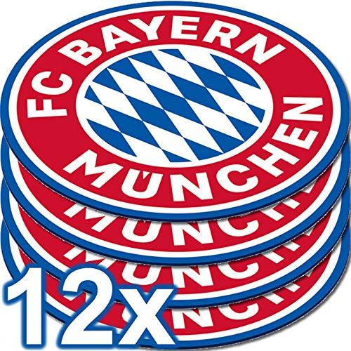 amscan 9906510 - FC Bayern München Bierdeckel, Set mit 12 Stück, Durchmesser 10,7 cm, aus Papier, Untersetzer für Gläser oder Tassen, perfekt für das Fest beim Fanclub oder die Fußball-Mottoparty