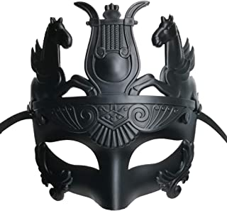 Masculine Greek & Roman Soldier Masquerade Mask for Men, Black, Size One Size