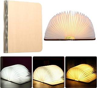 Gobesty Lámpara de libro plegable de madera, lámpara de libro LED de 3 colores Mini USB recargable plegable recargable luz de noche creativa para regalo creativo decoración del hogar.