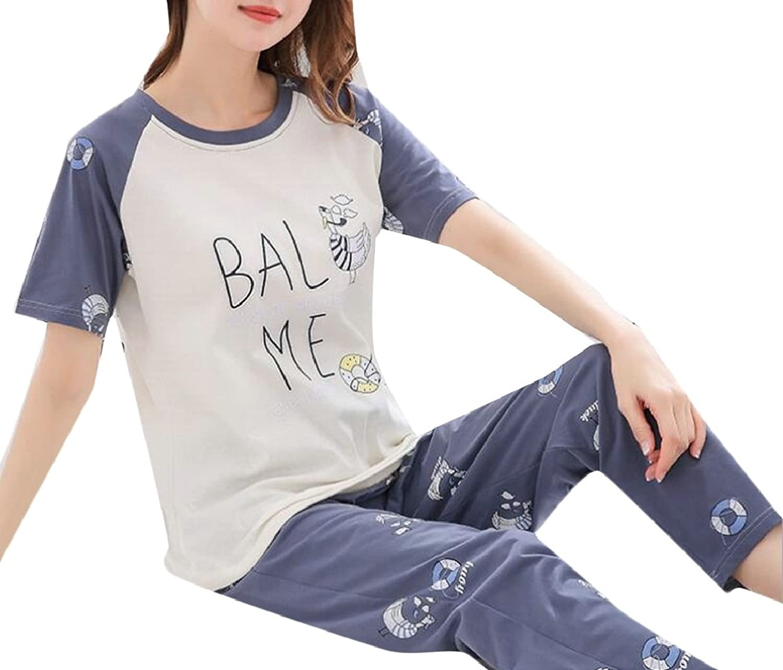 maweisong 女性のラウンドネックプリント半袖とズボンパジャマパジャマセット