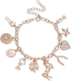 Women's Link Charm Bracelet Unicorn Clover Star Heart Pendant Charms Bracelet Bangles for Girls
