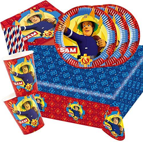 Amscan/Hobbyfun 45-teiliges Party-Set Feuerwehrmann Sam - Teller Becher Servietten Tischdecke Papiertrinkhalme für 8 Kinder