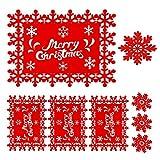 HOWAF 8 Pezzi Natale tovagliette e sottobicchiere per tavola, Set di tovagliette Rosse con Fiocco di Neve di Buon Natale per la Festa di Natale Invernali Decorazione della tavola da Pranzo