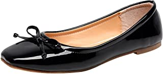 Jamron Women Soft Patent PU Leather Leisure Dolly Shoes Lightweight Water-Resistant Ballerinas with Lovely Bowknot